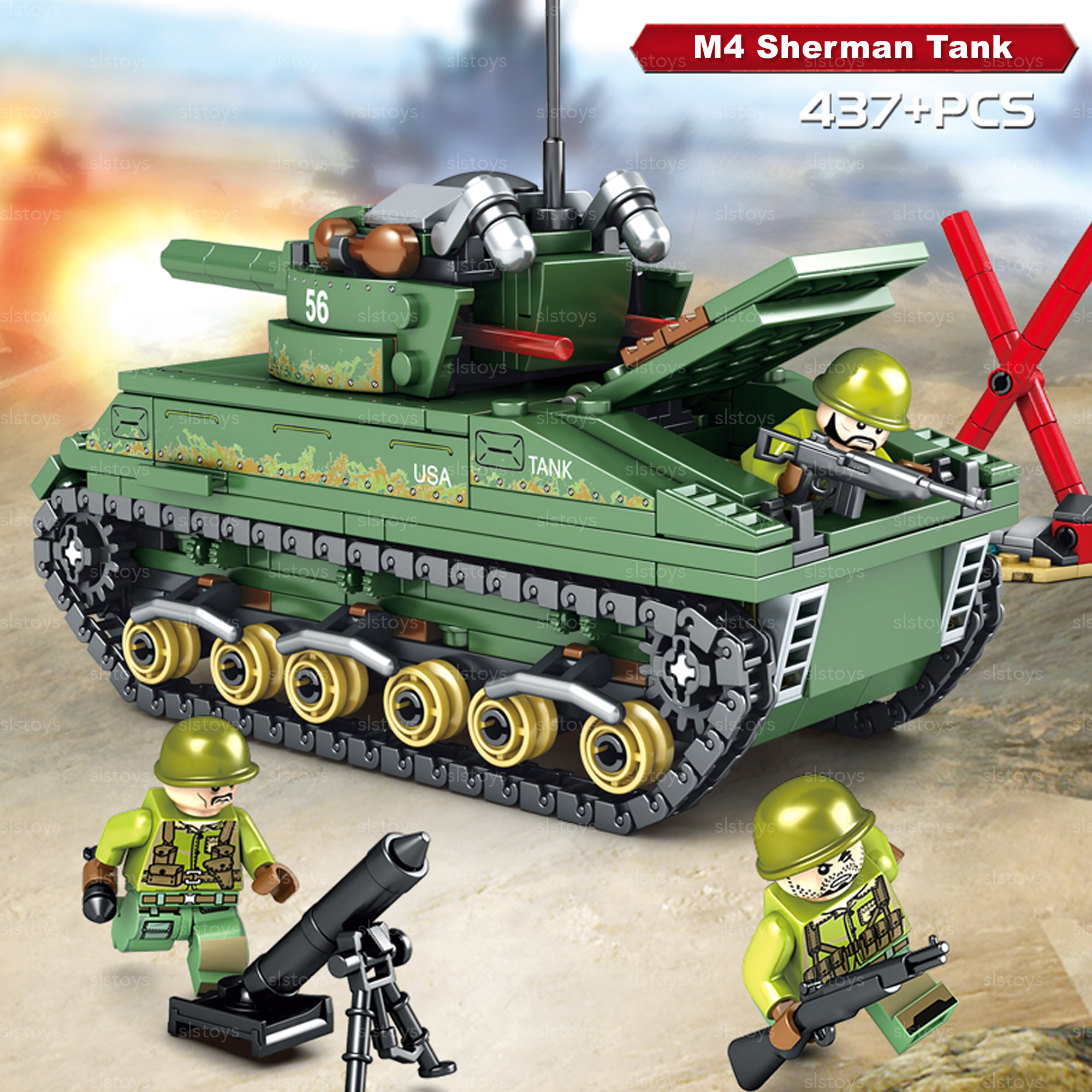 Sembo Empires of Steel No 101304 M4 Sherman Tank Model